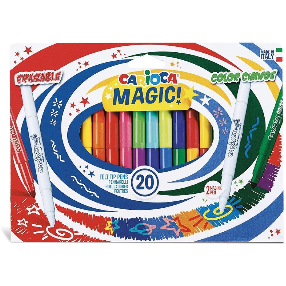 CARIOCA MAGIC MARKERS Caja De Rotuladores Con Tinta Mágica Cambia Color, Colores Surtidos 20 Unidades Rotulador Pintar Para Niño