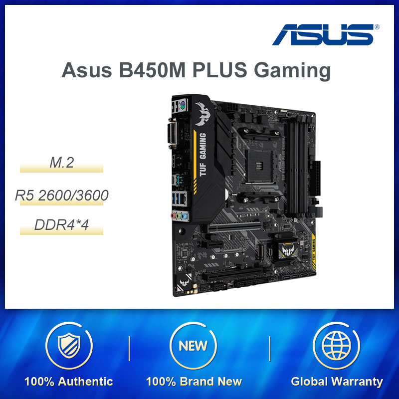 ASUS B450 PLUS MATX Desktop Gaming Motherboard Supports AMD Ryzen 2600 /3600 Maximun Support 64G DDR4 RAM/SATA/M.2 SSD Interface image