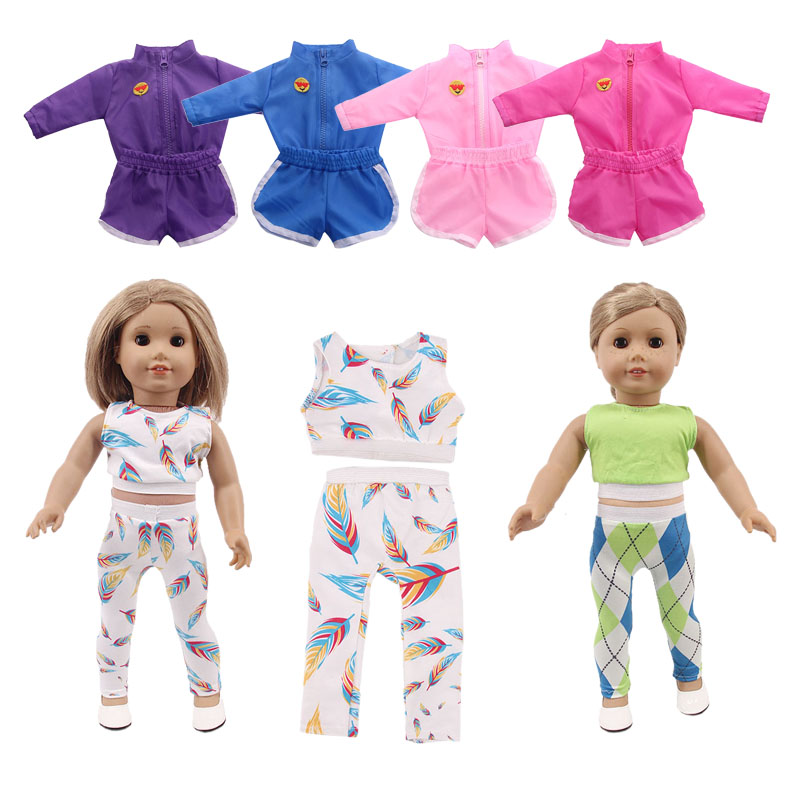 Doll Color Sports 2Pcs/Set Unicorn Pajamas Fit 18 Inch American Doll&43Cm Born Baby, Our Generation, Birthday Girl's Toy Gift