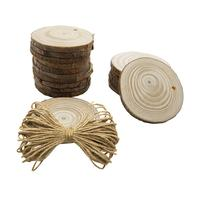 50 Pcs Pine Slices Diameter 6CM Wooden Round Decoration Ornament Pine Pieces with 10M Hemp Rope Garden Photography Home