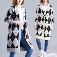 Fashion Casual Sweater Winter Women Coat 2019 Autumn New Large Size Cardigan Knitted Korean Plaid Loose Long Thick Jacket f1566