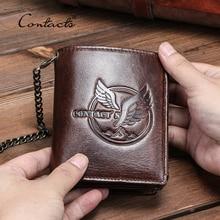 CONTACTS 100% Genuine Leather Men Wallet Small Coin Purse Chain Design PORTFOLIO Portomonee Male Wallets Retro Card Holder Bags