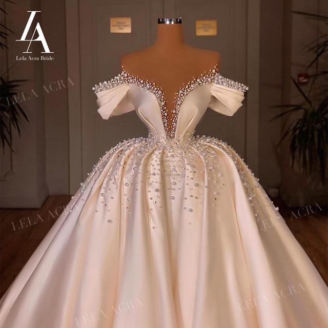 LelaAcra Luxury Pearls Wedding Dress 2021 Sweetheart 3 In 1 Bridal Ball Gown Vintage Princess VS01 Plus Size Vestido De Novia 1