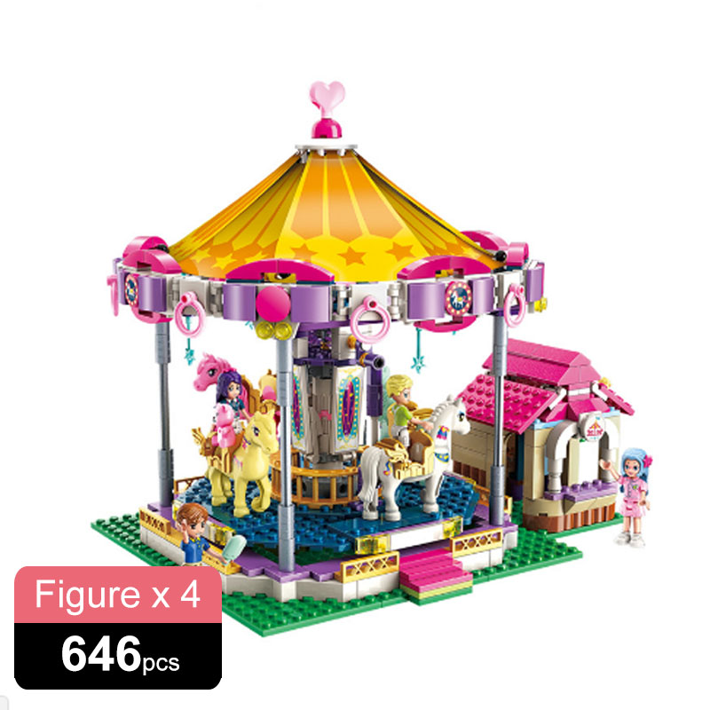 646PCS Girls City Friends Princess Fantasy Carousel Colorful Holidays Merry-Go-Round Building Blocks Sets Kids Brick Toys Gift image