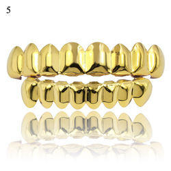 Hip Hop Gold Teeth Grillz Set Top Bottom Tooth Grills Dental Mouth Punk Teeth Caps Cosplay Party Rapper Jewelry New 2020 Hot