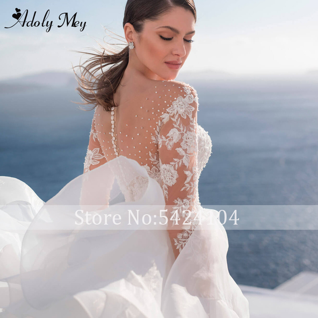 Adoly Mey Luxury Scoop Neck Beading Illusion Back A-Line Wedding Dress 2021 Ruched Tulle Long Sleeve Appliques Boho Wedding Gown 3