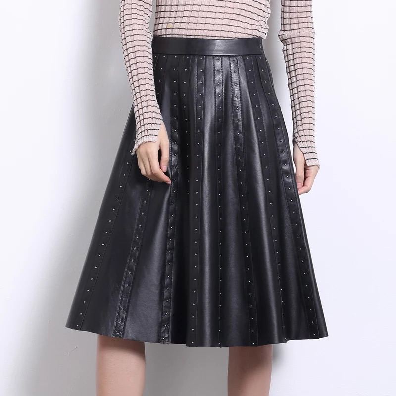 Genuine Leather Pleated Skirt 2019 Winter And Autumn Long Skirts Womens Black Sheepskin Leather Plus Size Skirt