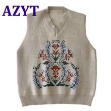 Sweater Vest Chic-Print Pullover Knitwear Tank-Tops Loose Vintage-Style Casual Women