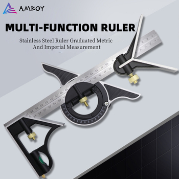 AMKOY 3 In 1 Square Angle Ruler Set Adjustable Engineers Multi Combination Right Angle Ruler Protractor Measuring Tool Set nice metal protractor mesure angle ruler measuring tool angle measurment round ruler stainless rule steel ruler protractor ruler