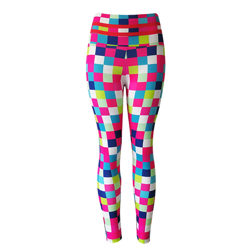 Lattice Pattern Hot Sex Women Water Leggings Running Trousers Sports Yoga Fitness Pants Printed Quick-drying Breathable Clothing