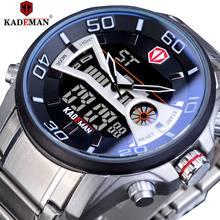 KADEMAN Luxury Mens Sports Watches LCD Digital Date Stopwatch Waterproof Quartz Clock Male Business Clock Steel Band Wristwatch