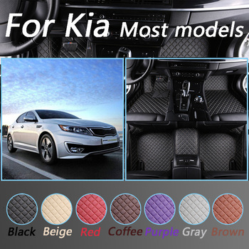 Luxurious Leather Car Floor Mats For Kia Rio K5 K7 Sportage Opirus Sorento Soul Non-slip Foot Mats image