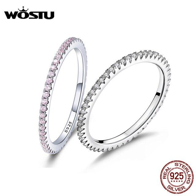 WOSTU горячая Распродажа 100% 925 пробы Серебряное геометрическое круглый, прозрачный CZ кольцо на палец для женщин обручальное ювелирное изделие подарок FIR066