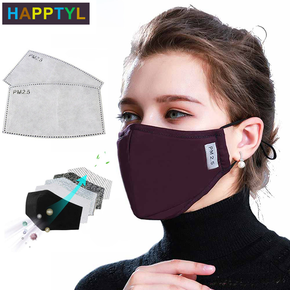 HAPPTYL Cotton PM2.5 Black Mouth Mask Anti Dust Mask Activated Carbon Filter Mouth-muffle Bacteria Proof Flu Face Masks Care