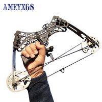 1set 35lbs Imported Steel Compound Bow With 3pc Arrows Mini Hand Grip Hunting Fishing Archery Bow for Camping Self defense