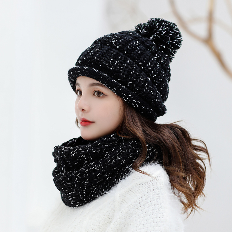 Pom Pom Women's Hat And Scarf Gloves Set Three Pieces For Women Kitted Wool Winter Hats For Girls Thick Warm Hat Scarf Glove Set