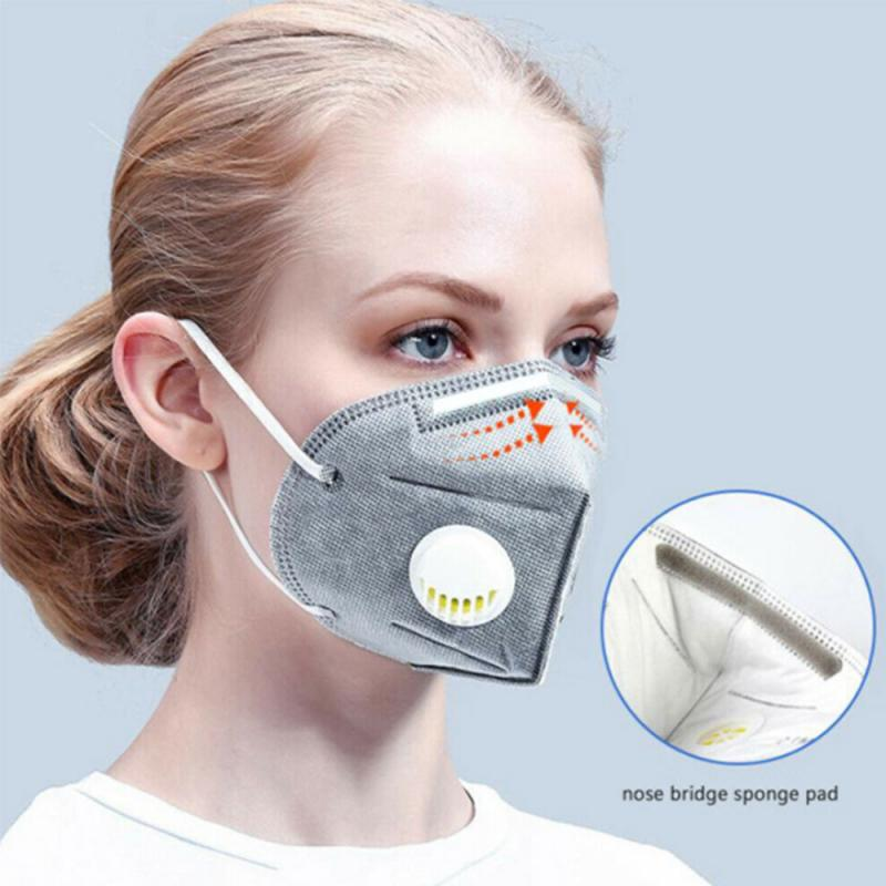 KN95 Mask Reusable Grey Valved Face Mask N95 Protection Face Mas High Elastic Rubber Band Anti Fog Activated Carbon Mask Unisex