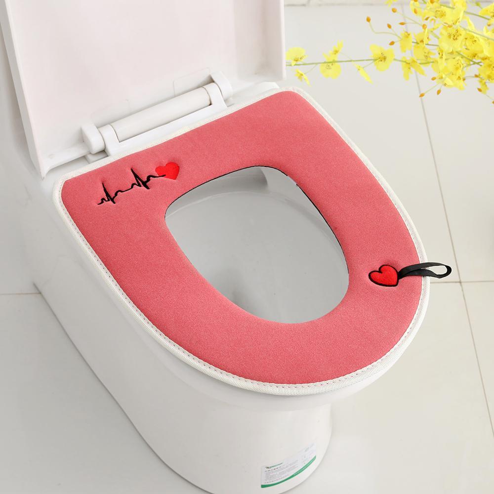 Cute Toilet Seat Cover Zipper Design Short Fiber Velvet Toilet Pad Washable Closestool Lid Pad Bathroom Accessories