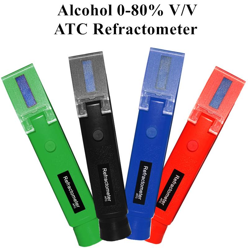 Portable Alcohol Detector Refractometer 0-80% V/V Liquor Alcohol Content Meter Tester ATC Alcoholometer Meter Wine 4 Color40%off