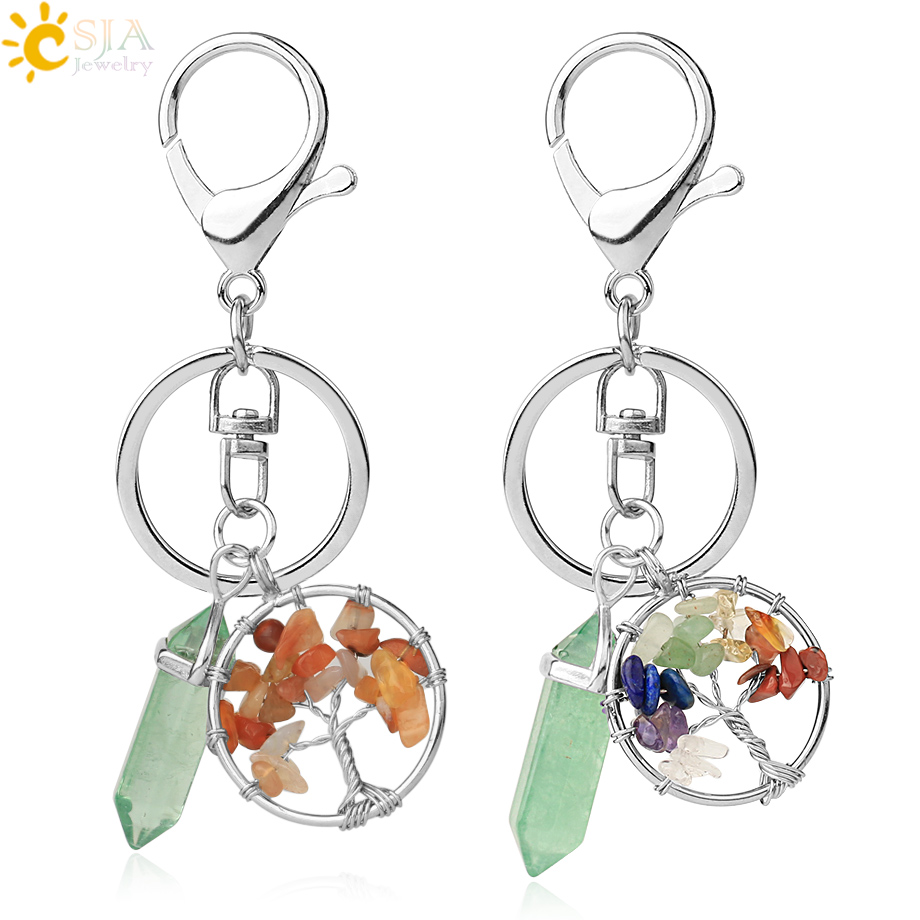 CSJA Natural Stone Keychains Green Fluorite Winding Tree Of Life Reiki Pendant Crystal Key Chain For Bag Car Ladies Jewelry G381