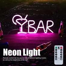 Неоновый знак бар буквы в форме полумесяца неоновый светильник
