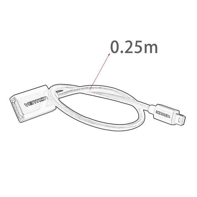 Vention High Speed Transmission Mini USB2.0 OTG Cable OTG Adapter For Cameras U Disk Card Readers MP4 0.25M