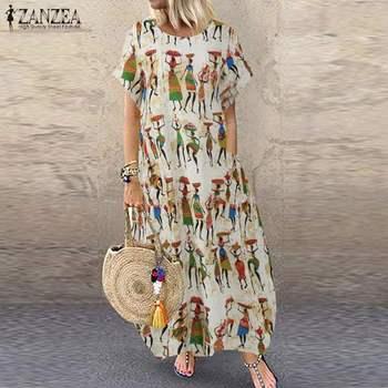 Women's Summer Sundress ZANZEA Stylish Cartoon Print Maxi Dress Casual Short Sleeve Tunic Vestidos Female O Neck Robe Oversize 7 цена 2017