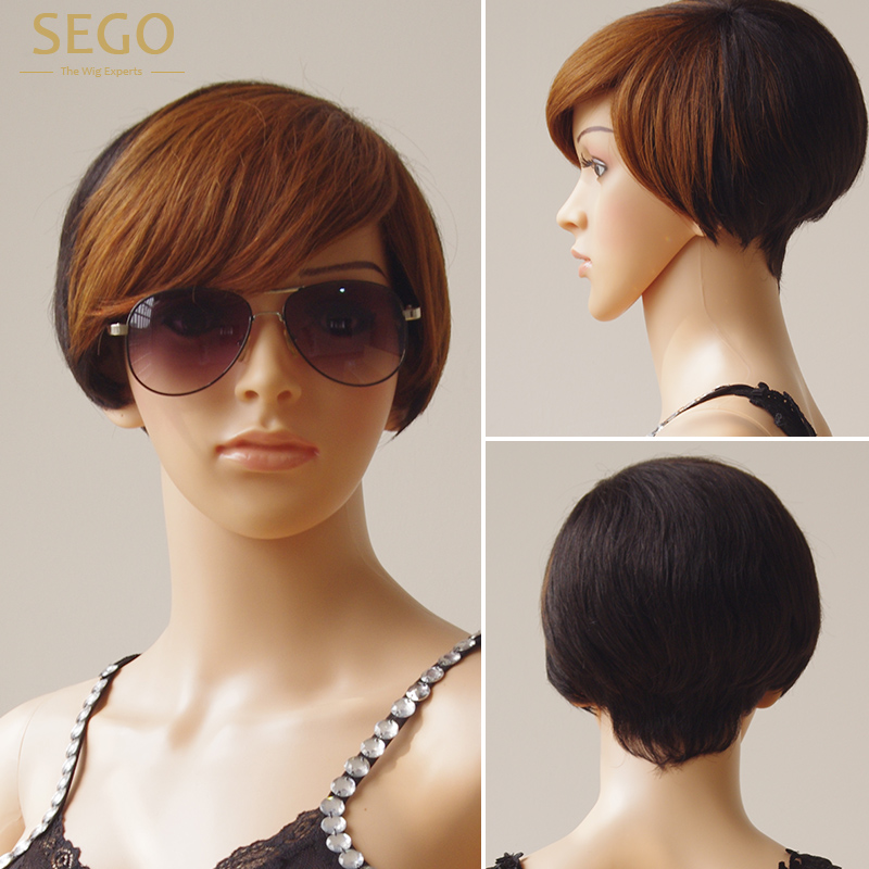 SEGO Short Ombre Human Hair Wigs P1B/6 Color For Women Brazilian Natural Color Machine Made 100% Human Hair Wig Non Remy Hair