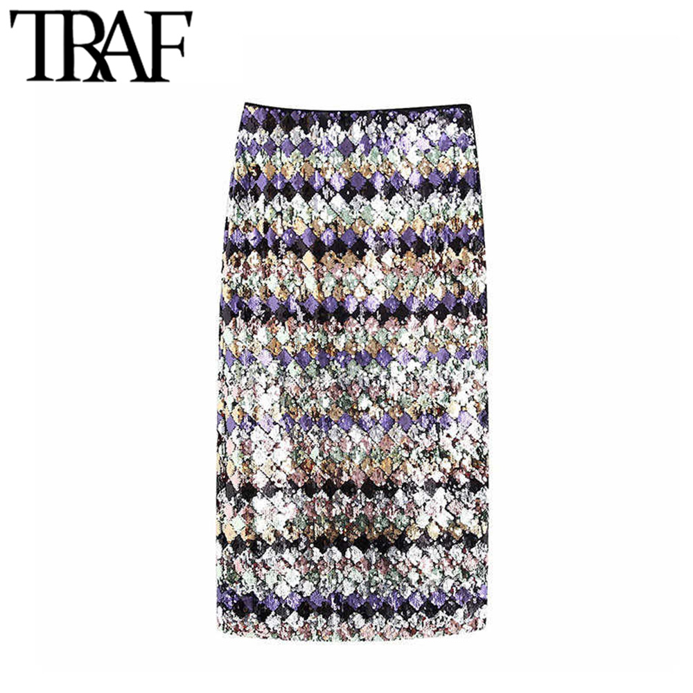 TRAF Women Vintage Sexy Sequin Midi Skirt Fashion High Waist Side Zipper Back Vents Female Skirts Casual Faldas Mujer