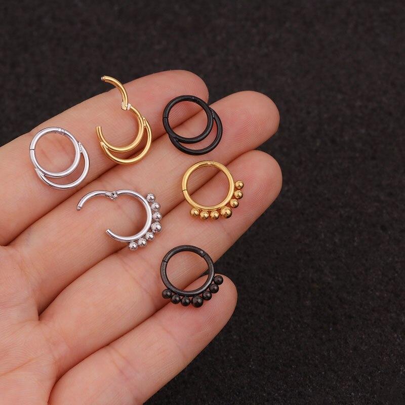 2020 1PC Double Layers Steel Clicker Segment Nose Hoop Rings Hinged Ear Nose Septum Piercing Women Men Body Jewelry Ombligo