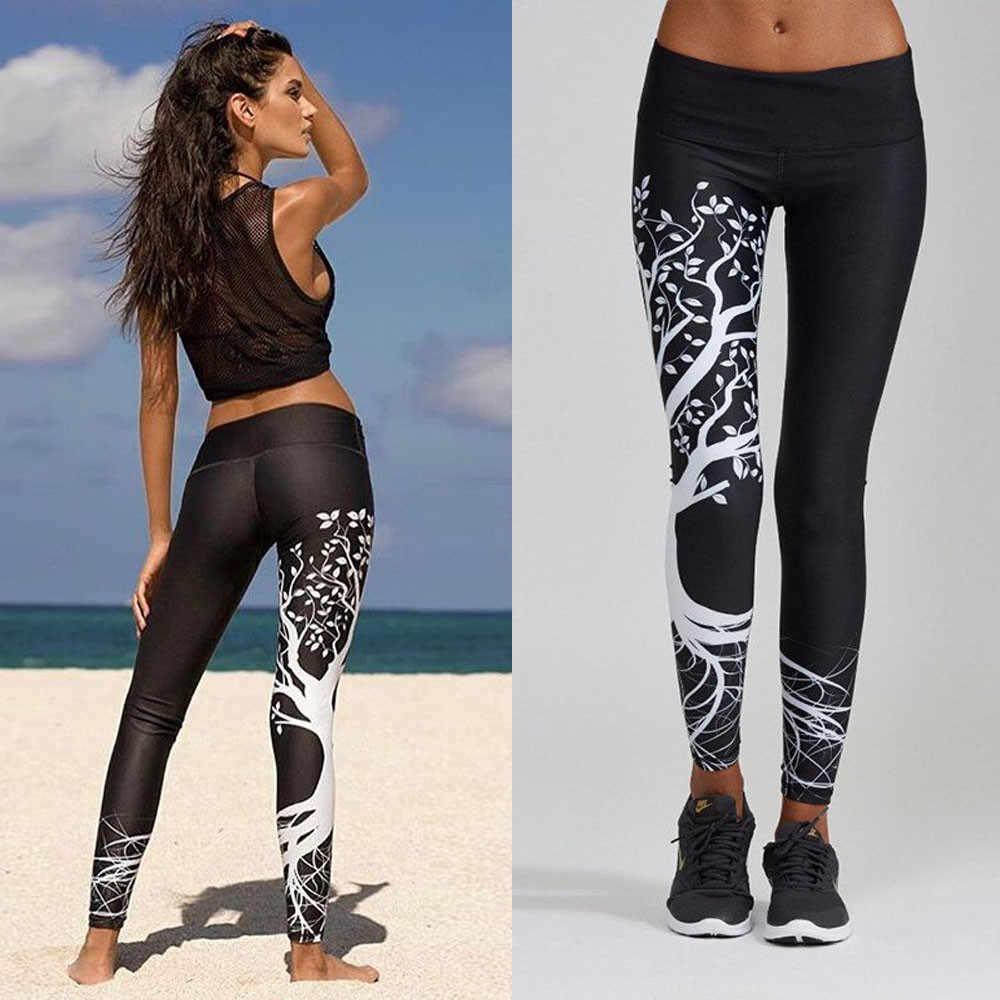 뜨거운 판매 여성 인쇄 피트 니스 legging 스포츠 운동 체육관 운동 운동 바지 중반 탄성 허리 블랙 레깅스
