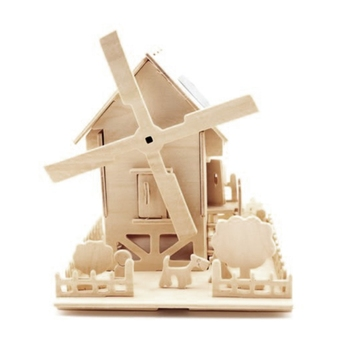 3D Wooden Jigsaw Puzzle Solar Powered Windmill House DIY Early Educational Toy