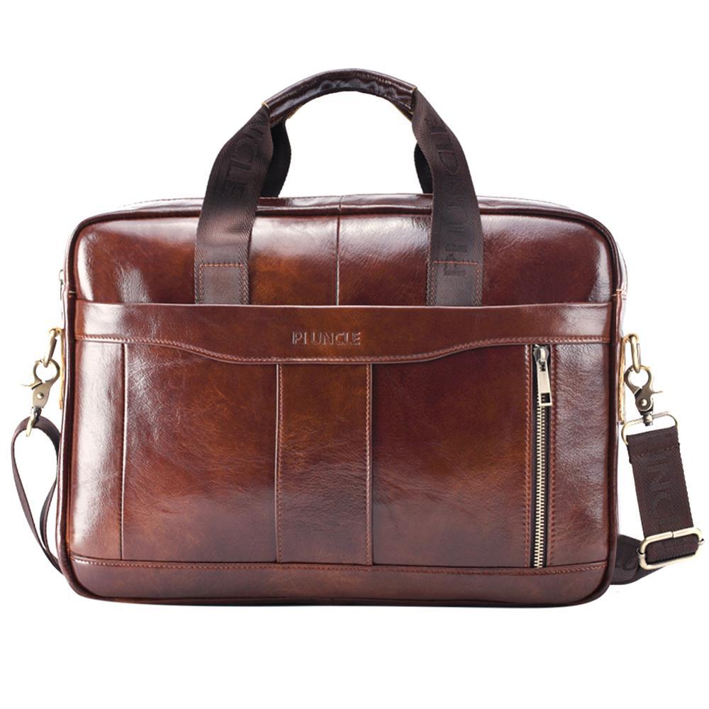 Enuine Leather Briefcase Male Man Laptop Bag Natural Leather For Messenger Bag Laptop Shoulder Crossbody Bag Office Handbag