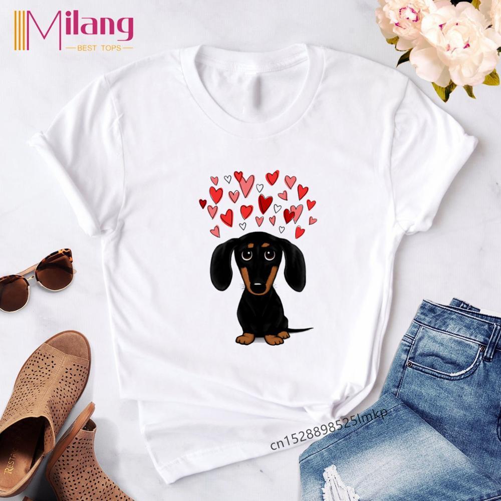 Female T-shirt Dachshund Kawaii Streetwear Tees Women T-Shirt Fashion Dog Graphic T Shirts Short Sleeve Harajuku Ropa Mujer