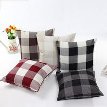 Plaid Cotton Linen Pillowslip Flax Grid Pillow Case Square 45x45cm Fashionable Christmas Throw Pillow Protector Cover Case fashionable leopard print cats pattern cotton and linen pillow case(without pillow inner)