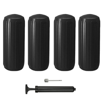 "4 Marine Inflatable Fenders 8.5*20"" Black Vinyl Boat Docking Guard Center Hole"