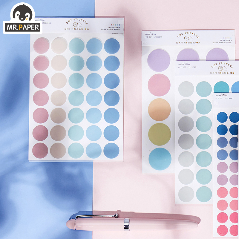 Mr.paper 7 Designs 3Pc Color Dot PET Sticker Scrapbooking Planner Laptop Japanese Cycle Toy Cool Doodling Decorative Stationery 4
