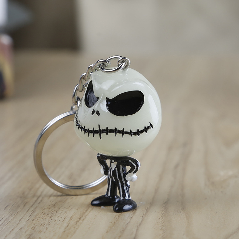 The Nightmare Before Christmas Luminous Keychain Jack Skellington 3D Toy Key Chain Car Keyring Jewelry Gift in Key Chains from Jewelry Accessories