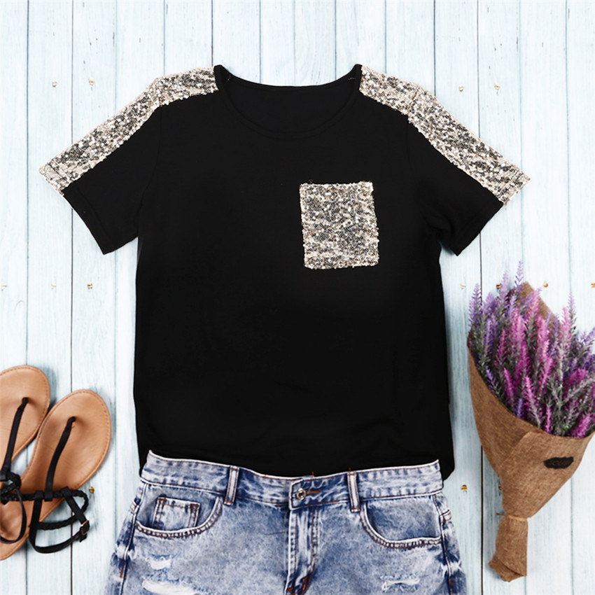 Sequined T Shirt Womens Pocket Tee Shirts Tops Mujer Fashion Black T-shirt Women Short Sleeve Tee Summer Female Top