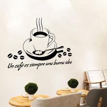 Autocollant mural espagnol Un café es srmpre una buena, étiquette de papier peint pour salon, restaurant, décoration de la maison