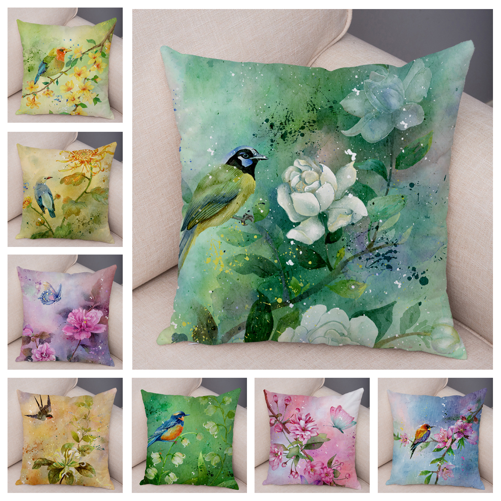 Watercolor Flower and Birds Cushion Cover for Sofa Home Car Chair Plush Pillow Case 45x45cm Colorful Floral Animal Pillowcase