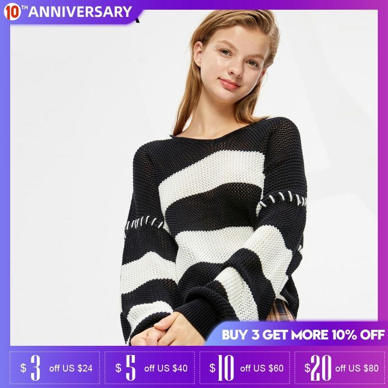 Vero  Moda Winter Stripe Hooded Loose Cotton Short Sweater| 319313574