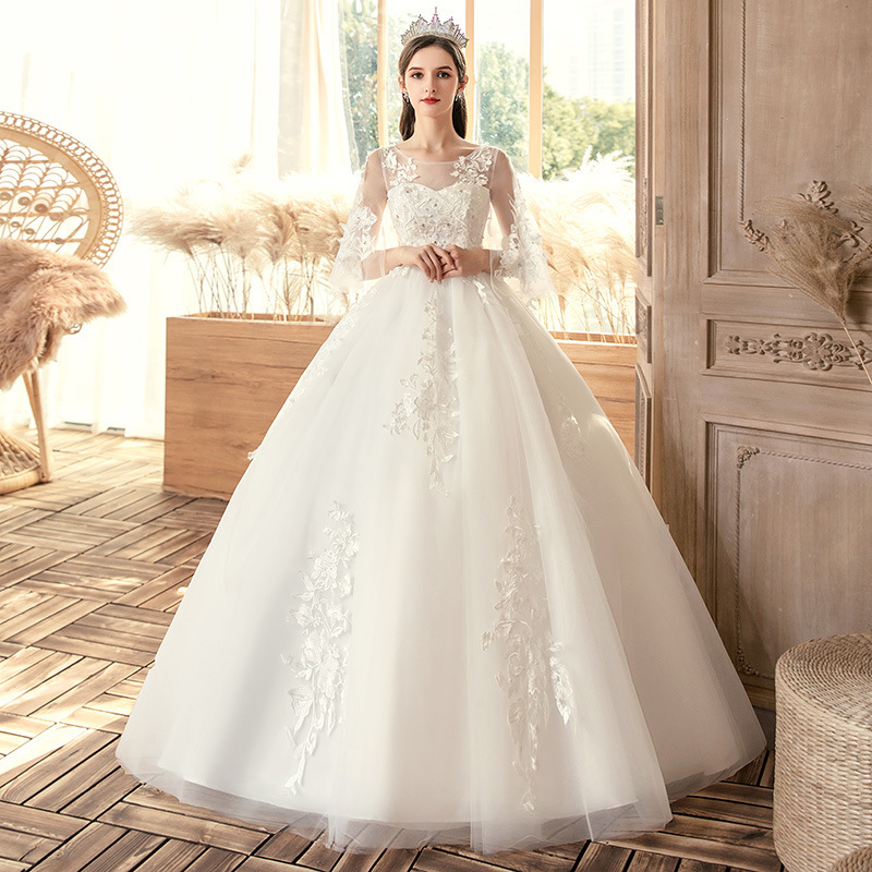 2019 Hot Sale Sweetheart The New 2020 Plus-size Wedding Dresses M Thin Fat Bride And A Word Shoulder Neat Dress Covered S19 Arm