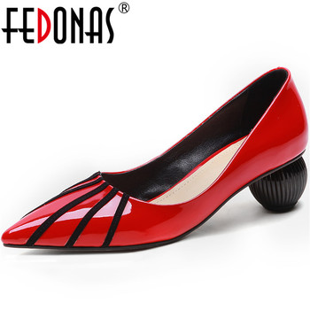 FEDONAS Concise Shallow Genuine Leather Women'S Summer Shoes 2020 Newest Thick Heels Pumps Woman Casual Working Prom Shoes Woman