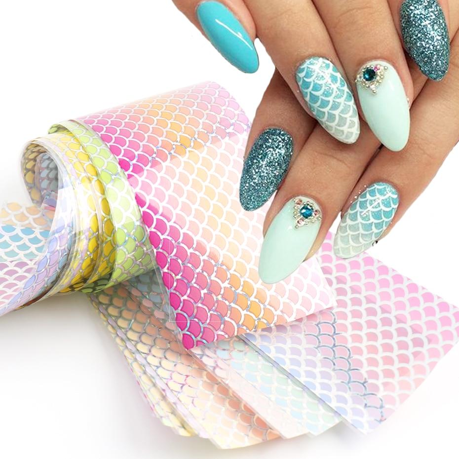 10 шт. Русалка для ногтей градиент в виде рыбьей чешуи, украшение для ногтей, Голографическая клейкая Бумага волны Дизайн Маникюр наклейки ...