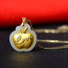 New natural Hetian jade apple pendant fashion inlaid 24K gold men and women jade pendant jewelry free necklace gift 24k gold brave troops pendant gold and hetian jade dark blue chalcedony beaded bracelet
