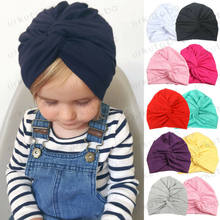 2019 Brand New Newborn Infant Baby Turban Toddler Kids Boy Girl Cotton Blends Hat Lovely Soft Cute Solid Knot Beanies Baby Gifts(China)