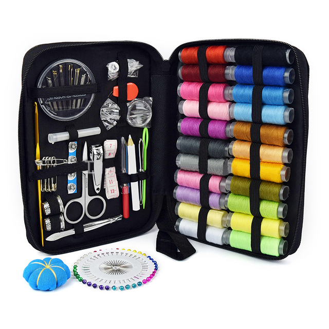 Sewing Kit Filled With Scissors Thread Spool Thimble Eyebrow Clip Measuring Tape Threaders 126 Accessories Travel Home Needle Th 2