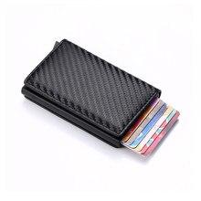 Cartera inteligente para hombre y mujer, tarjetero de aleación de aluminio, Mini billetera informal de negocios, de cuero