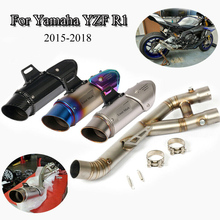 Full Exhaust System Pipe Motorcycle 60.5mm Exhaust Muffler Tip Mid Link Pipe Tube For Yamaha R1 Slip On 2015 2016 2017 Modified цена в Москве и Питере